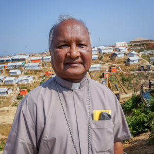 Bishop Gervas Rozario, head of Caritas Bangladesh, at a Rohingya refugee camp.
