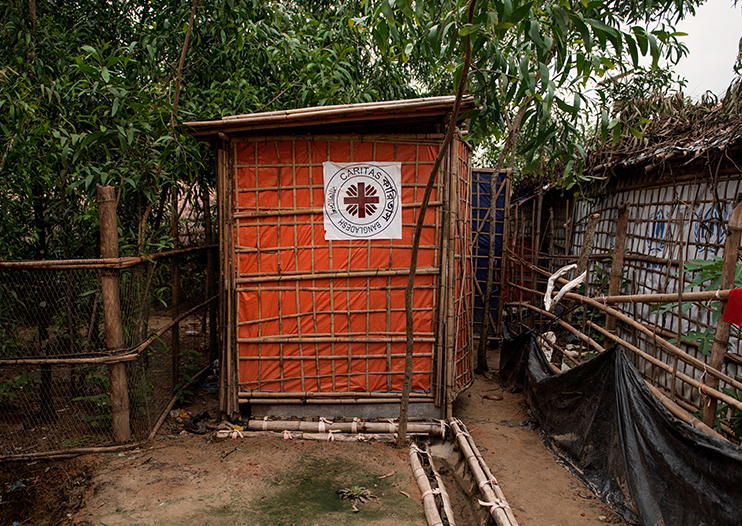 Caritas has built new latrines in the refugee camp.