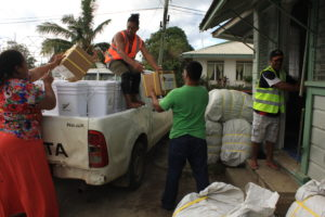 Caritas Tonga and the Tongan National Youth Council distributed food, water and other supplies immediately after Cyclone Gita. Photo: Caritas