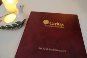 The Caritas book of remembrance in our chapel in the Vatican.