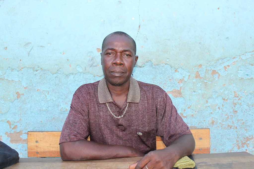 Candido De Sousa, 45, a teacher at the school in Tica were the Caritas aid distribution took place.
