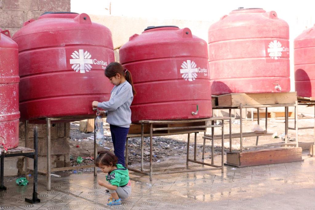 Caritas water tank in Al Hasakah.