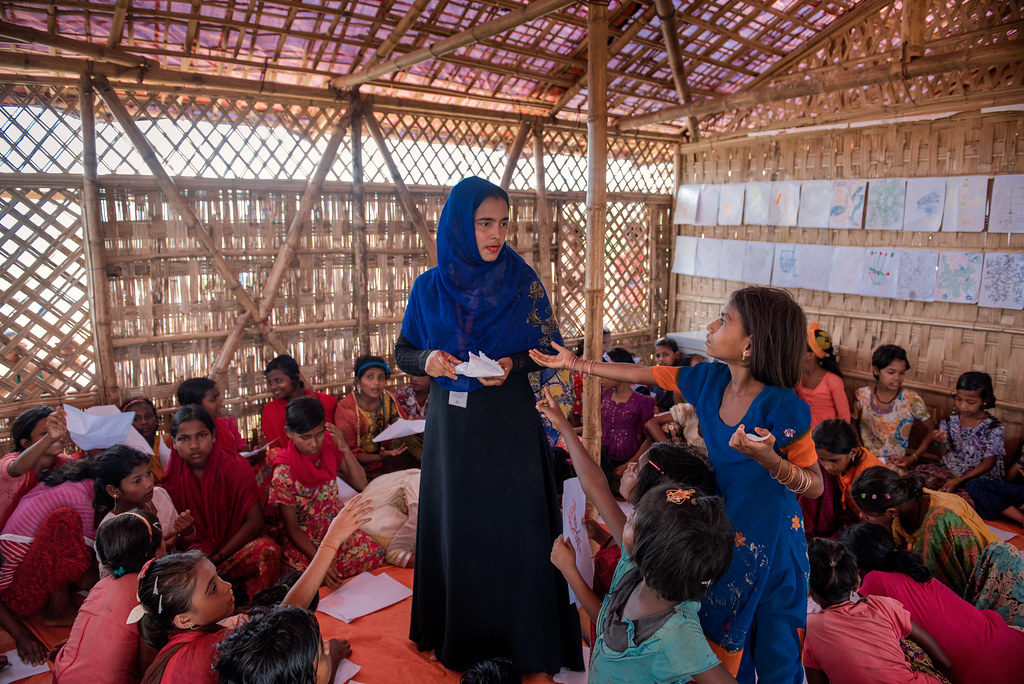Nasrin works in one of Caritas's six Child Friendly Spaces in Cox's Bazar