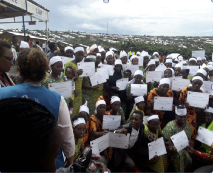 The new dressmakers receive their certificates
