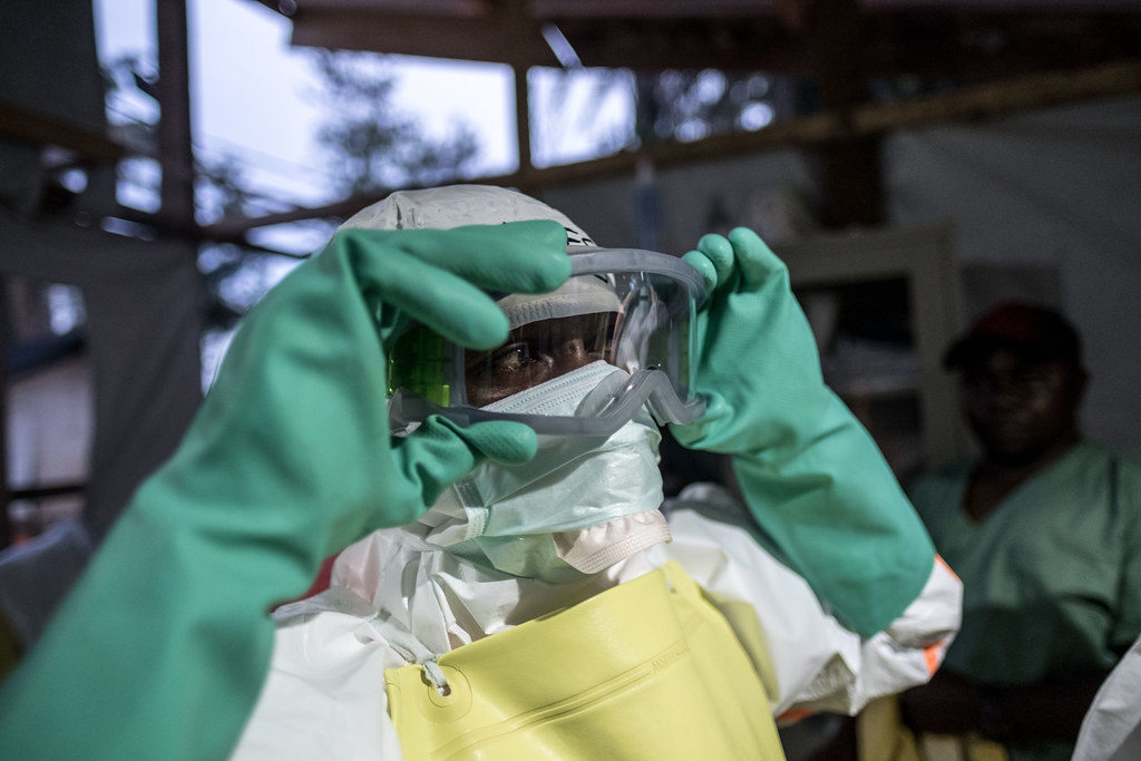 Ebola workers prepare to enter the red zone at an Ebola treatment center in Mangina, DRC.