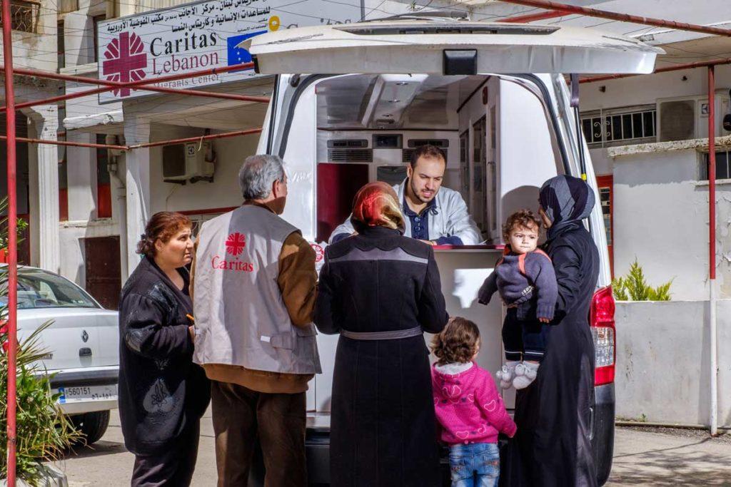 Caritas mobile health clinic for migrants in Lebanon
