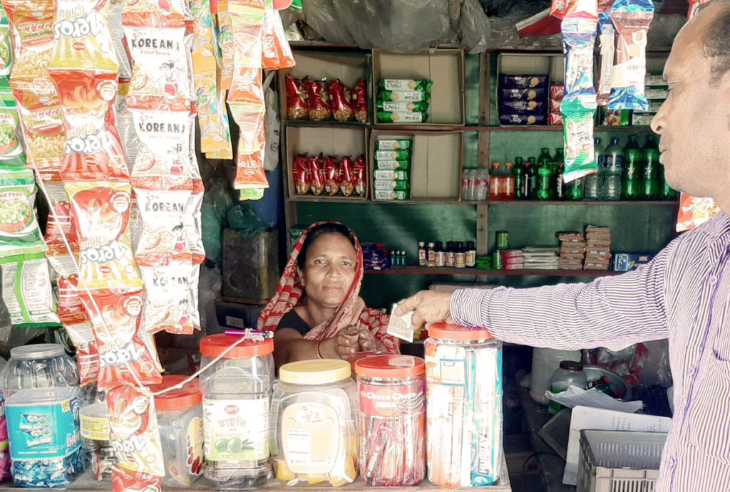Juthika in her shop. Caritas Bangladesh women empowerment program
