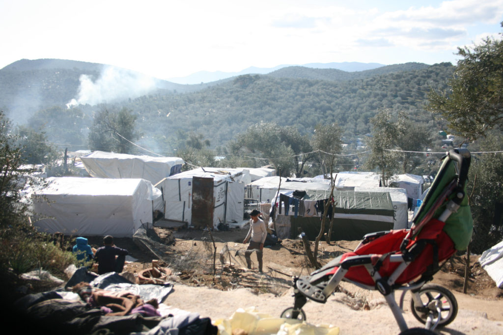 Migrants and refugees are stranded in Moria camp in Lesbos