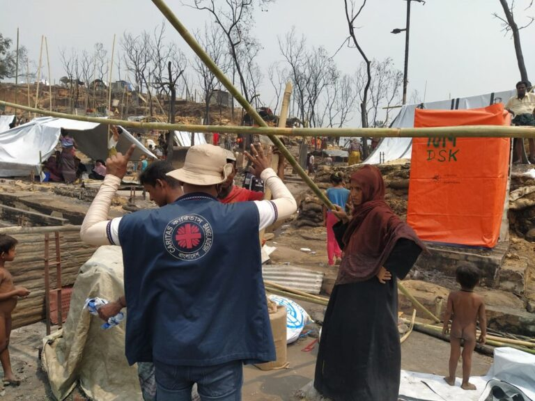 Caritas Bangladesh staff are responding to a massive fire in a Rohingya camp.